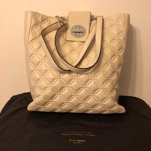 Kate Spade cream-colored quilted leather bag